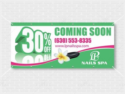05 - Outdoor Banner - Size 4x9 No Picture - LP Nails Spa ID:  5069