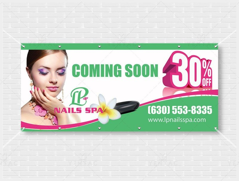 05 - Outdoor Banner - Size 4x9 With Picture - LP Nails Spa ID:  5069