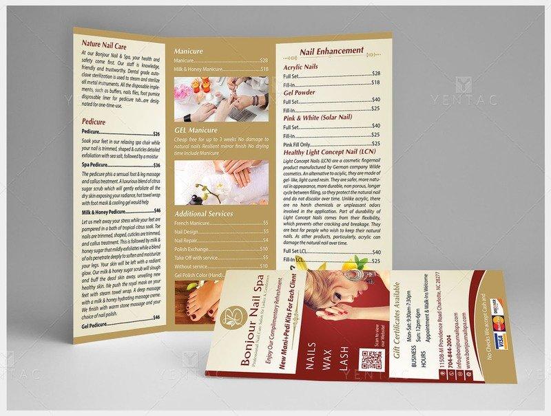 04.1 - Menu-Take-Out Size 8.5x11 Tri-Fold (Letter Size) Bonjour Nails Spa #5070 Salon