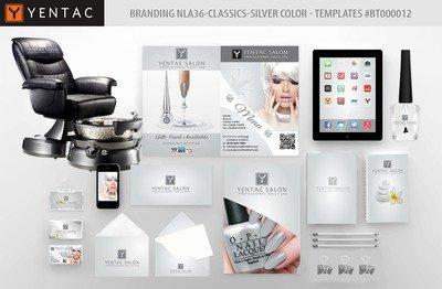 Silver Branding Color - Stationary Mockup - YENTAC Nail Salon Templates:  BT000012