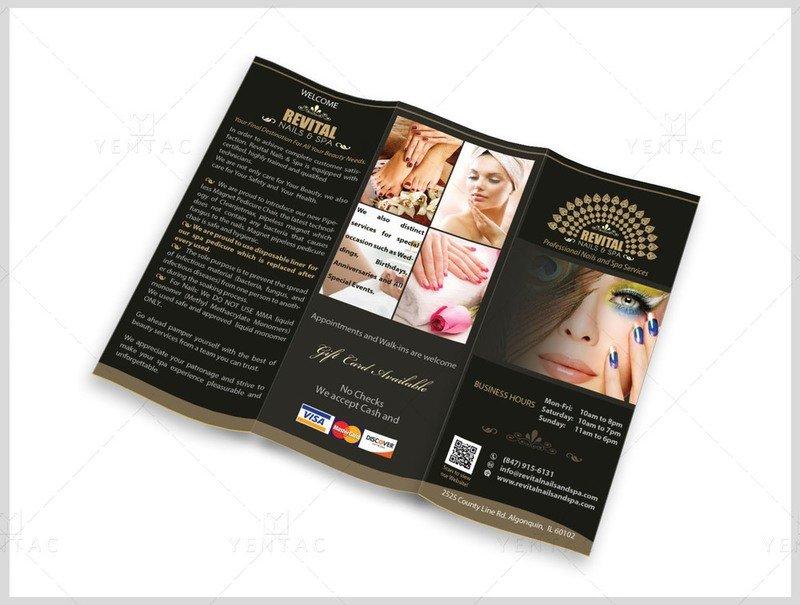 Menu-Take-Out Size 8.5x11 Tri-Fold (Letter Size) - Nail Salon #5010 Revital Brand