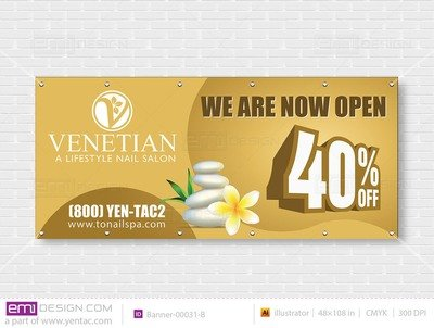 Outdoor Banner - Size 4x9 No Picture Template: 00031-B