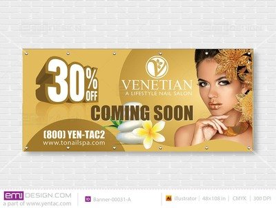 Outdoor Banner - Size 4x9 With Picture Template: 00031-A