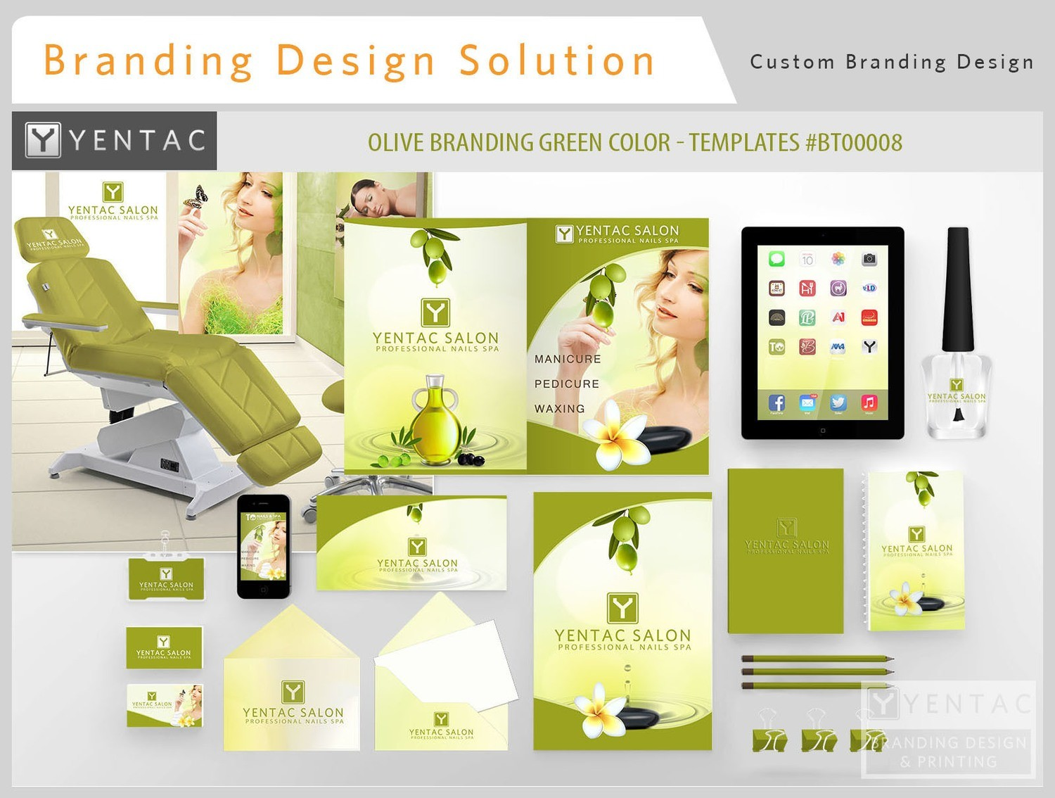 Branding Custom Identity - TO Full Brand Franchise - Olive Green Color Templates:  BT000008 - 3011