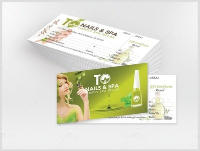 Gift Certificate Deluxe Custom Design  & Printing - TO Brand Franchise  3011 Size 8.5x3.5 Inches