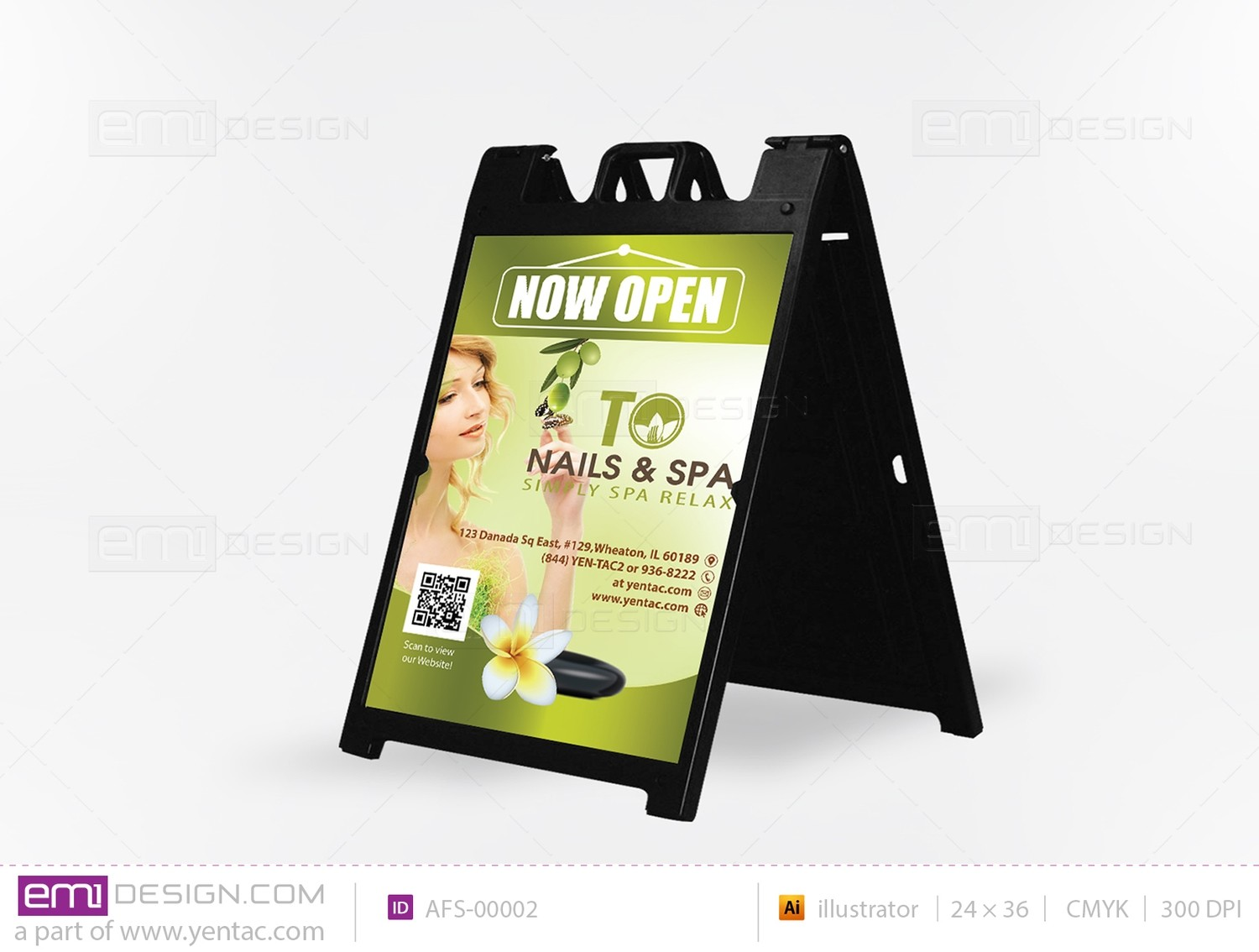 05 - A Frame Sign - Sidewalk - Template AFS-00002