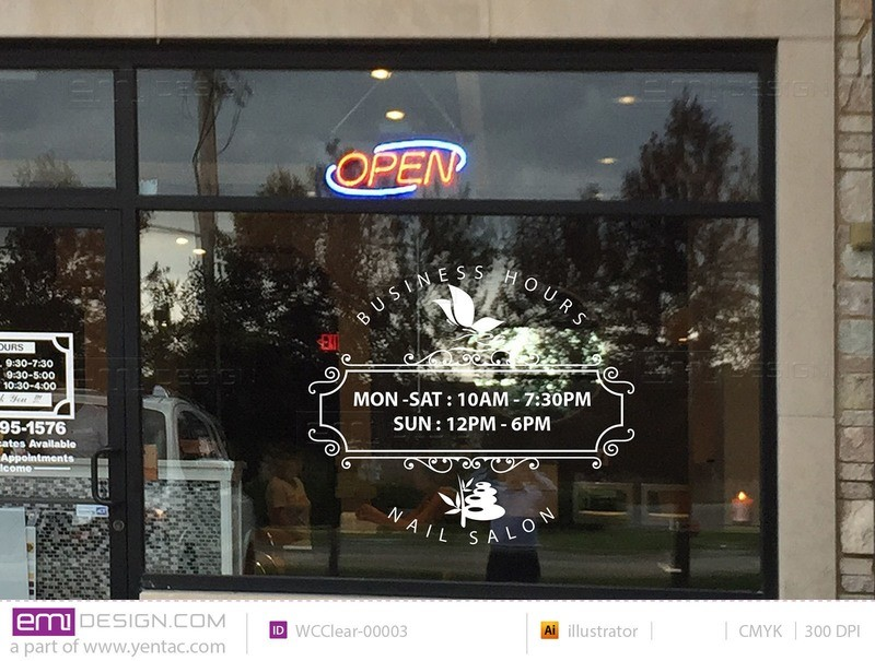 Window Cling - Clear Business Hours Template WCClear-00003
