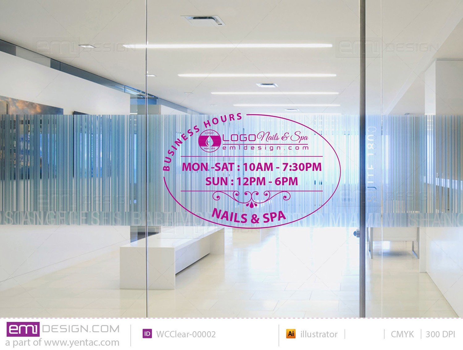 Window Cling - Clear Business Hours Template WCClear-00002