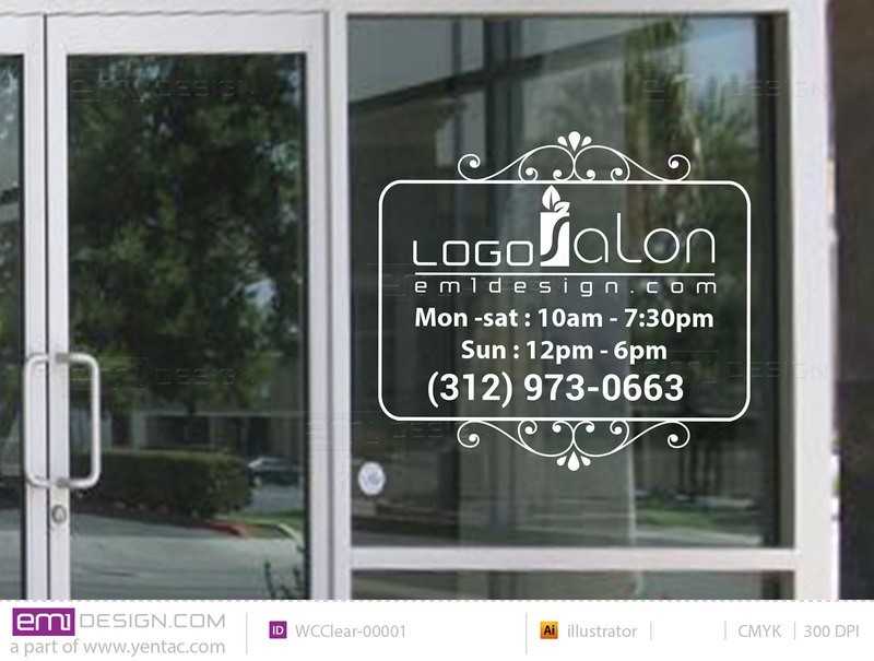 Window Cling - Clear Business Hours Template WCClear-00001