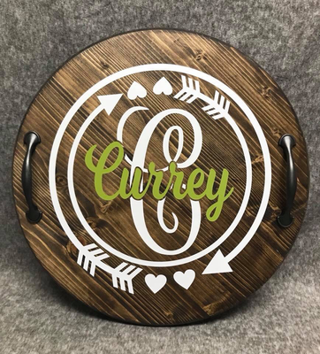 wood disk with last name