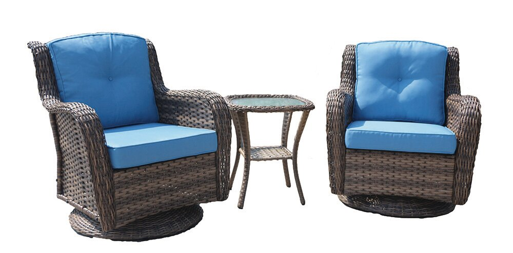 Wicker 3 Pc Swivel Rocker Set W/Blue Cushion