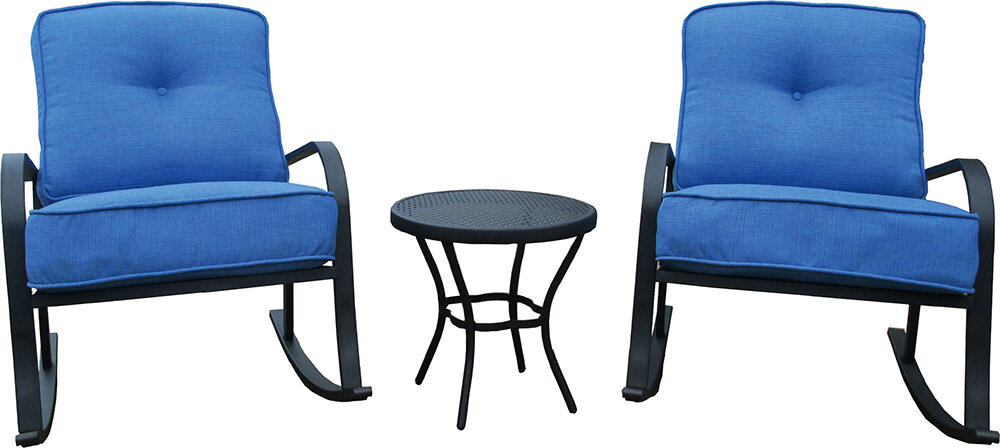 Blue 3 Pc Rocking Chair Set