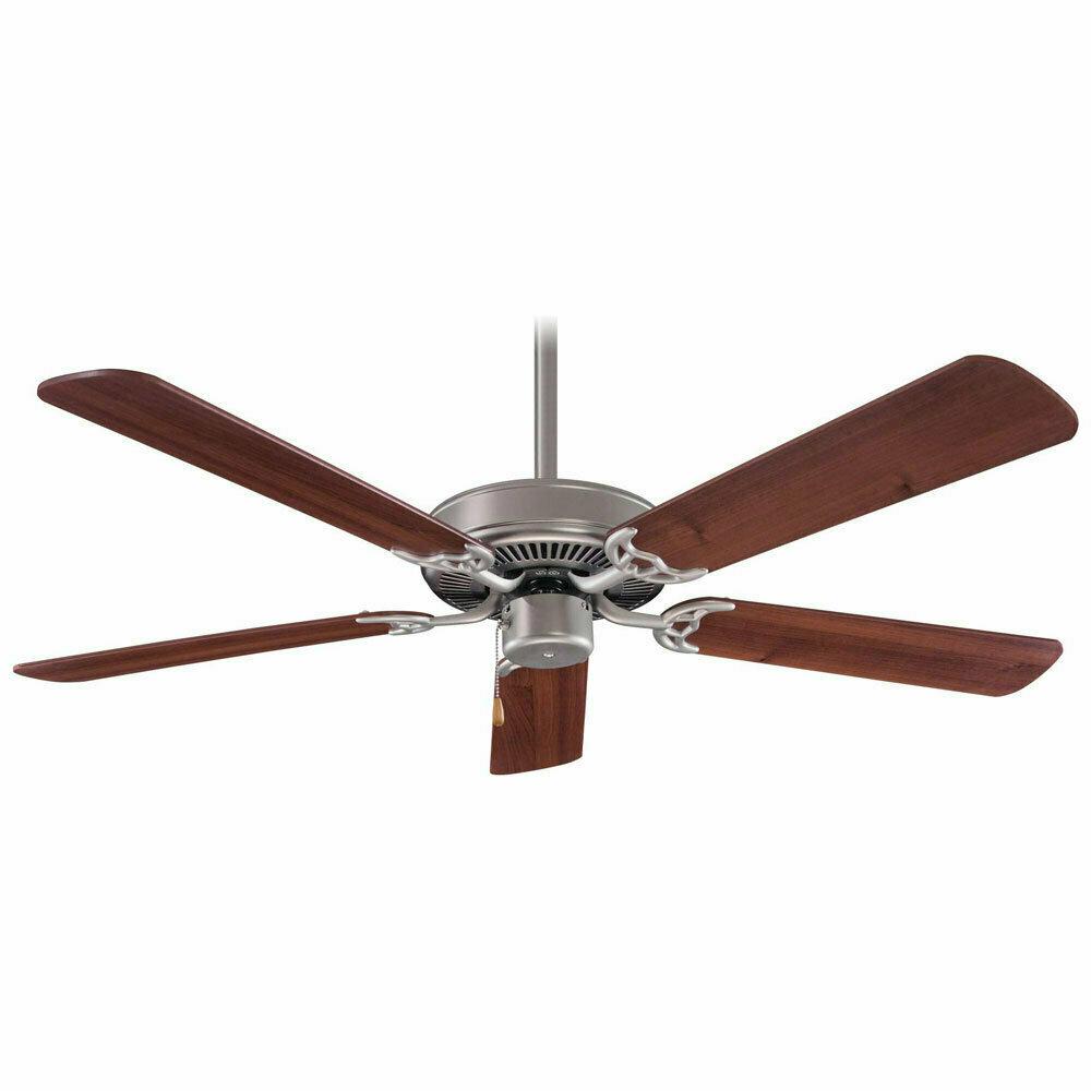 Contractor Brushed Steel Fan w/Dark Walnut Blades