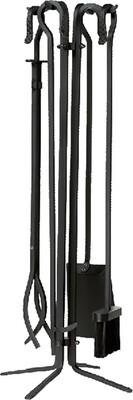 Black 5 Pc Wrought Iron Fireset