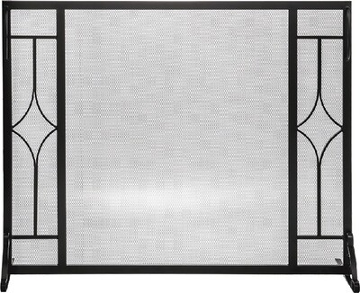 Black Wrought Iron Panel Fire Screen