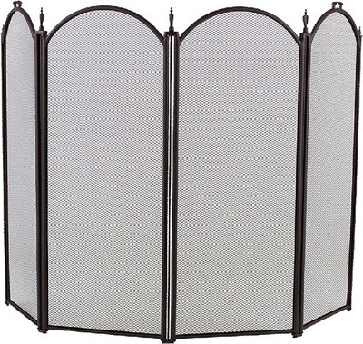 Black 4 Fold Arched Fire Screen