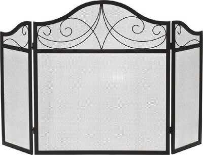 Black Wrought Iron 3 Fold Arched Fire Screen