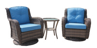Wicker 3 Pc Swivel Rocker Set W/Blue Cushion