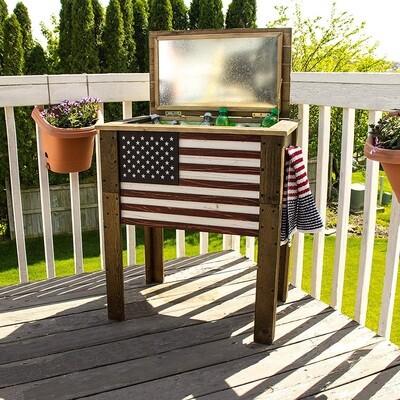 Wooden Flag 45 Qt Cooler