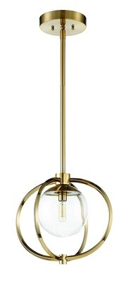 Plitz Satin Brass 1 Lt Pend Clear Glass