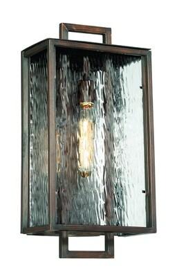 Cubic Aged Bronze Large 1 Lt Exterior Pocket Sconce