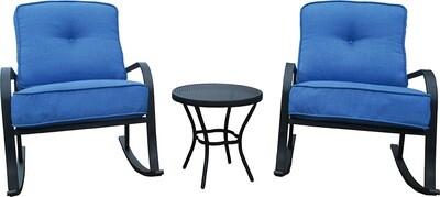 Blue 3 Pc Rocking Chair Set