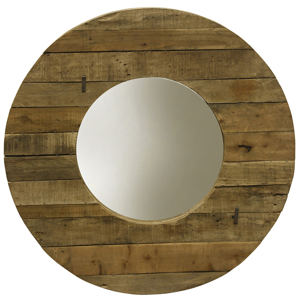 Natural Slatted Wood Mirror
