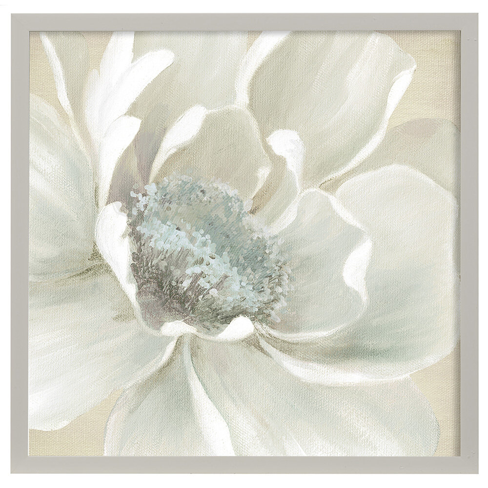 Winter Blooms I Faux Wood Frame Under Glass