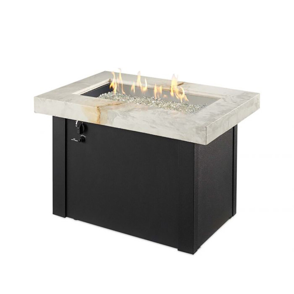 Provdnce White Onyx Fire Table W/Black (DISPLAY ONLY)