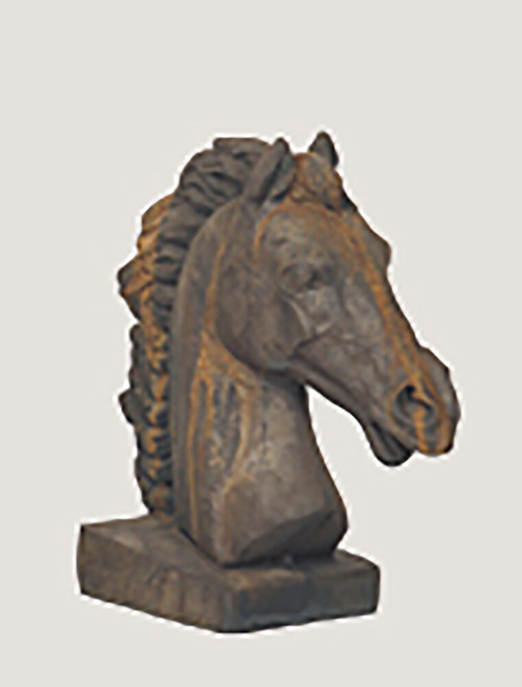 Rust Square Base Horse Head