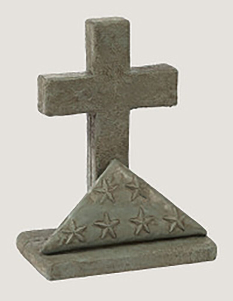 Pre Aged Flag And Cross Statue