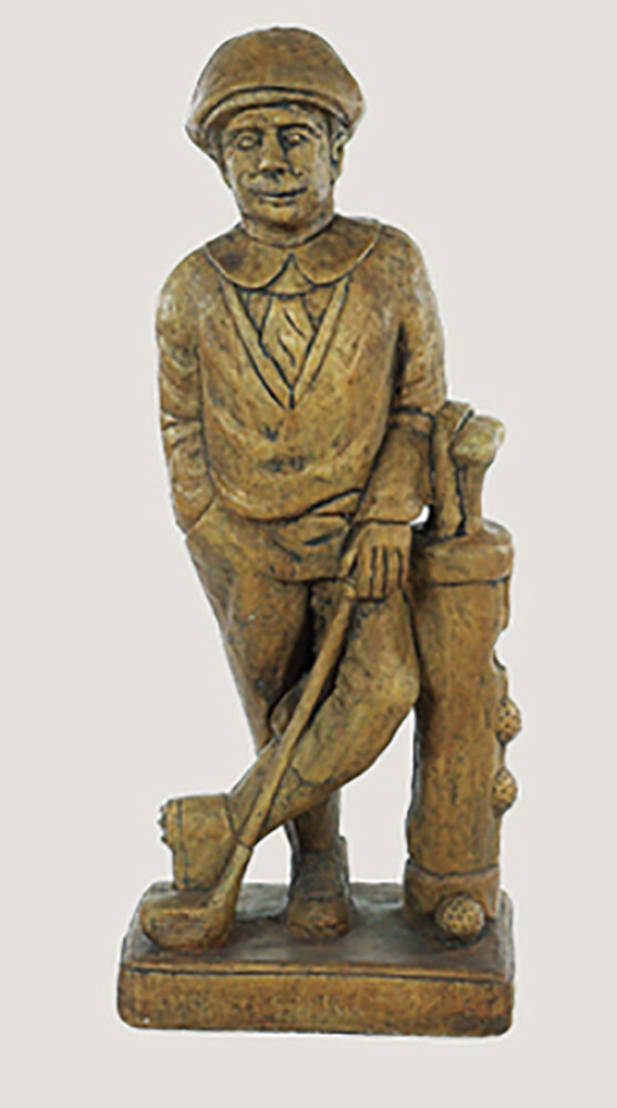Large Buff Golfer With Clubs Statue