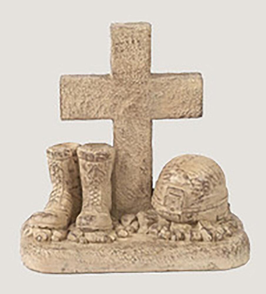 Rust Soldier Boots/Helmet At Cross Statue