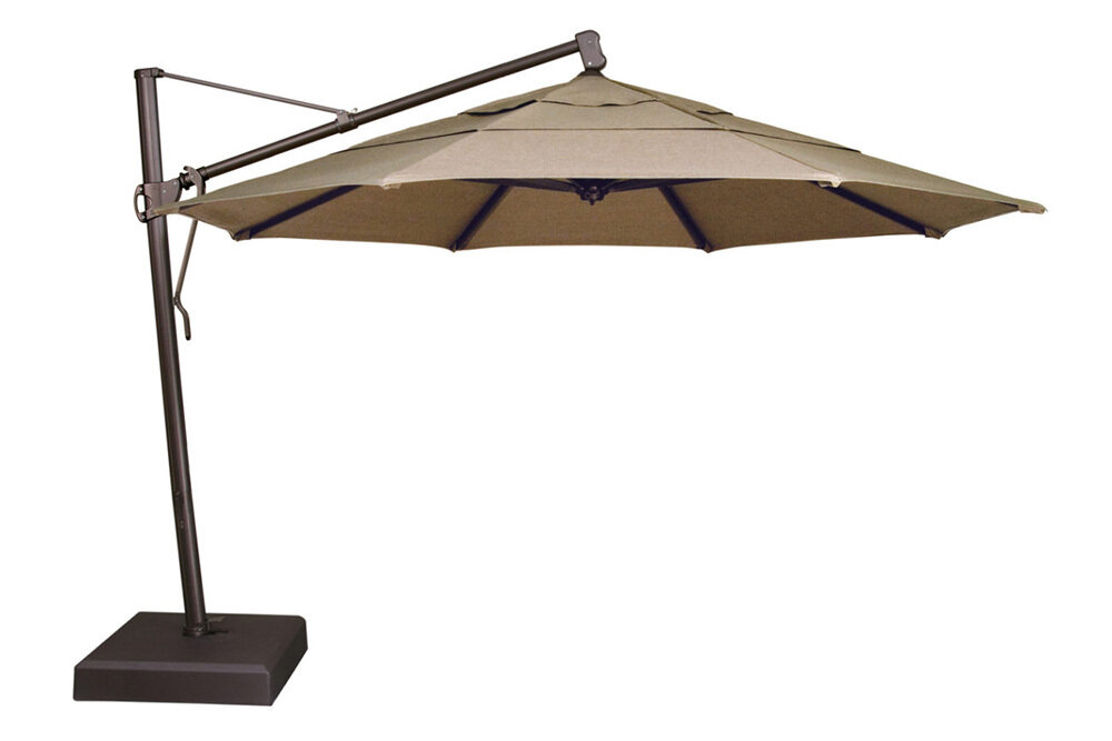 13' Cantilever Bronze Octagon Double Wind Umbrella