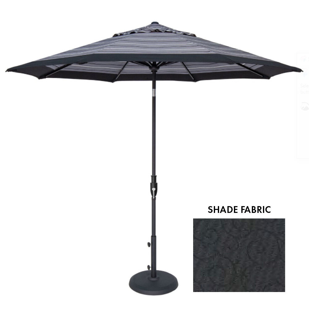 11' Auto-Tilt Blk Octagon Double Wind Umbrella