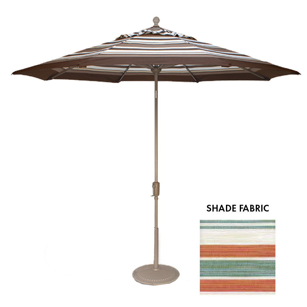 9' Octagon Courtyard Cabo Stripe Push Button Umbrella