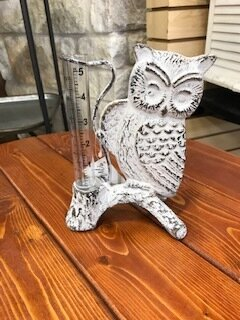 Owl Cast Iron Rain Gauge
