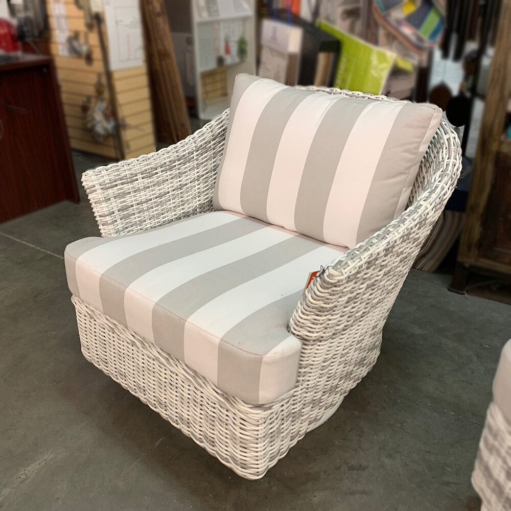 Sonoma Rustic White Wicker Swivel Lounge Chair