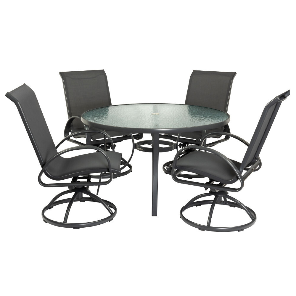 Grey 5 PC Round Dining Set