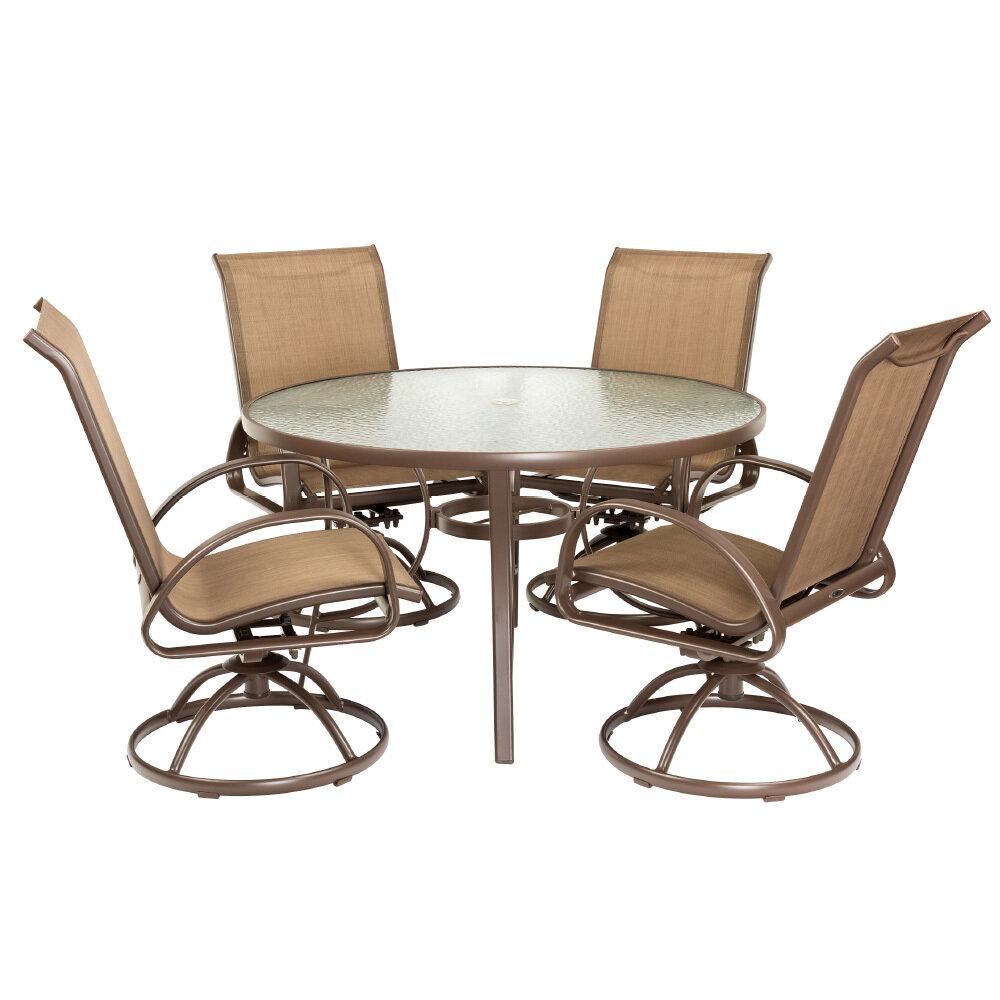 Brown 5 PC Round Dining Set