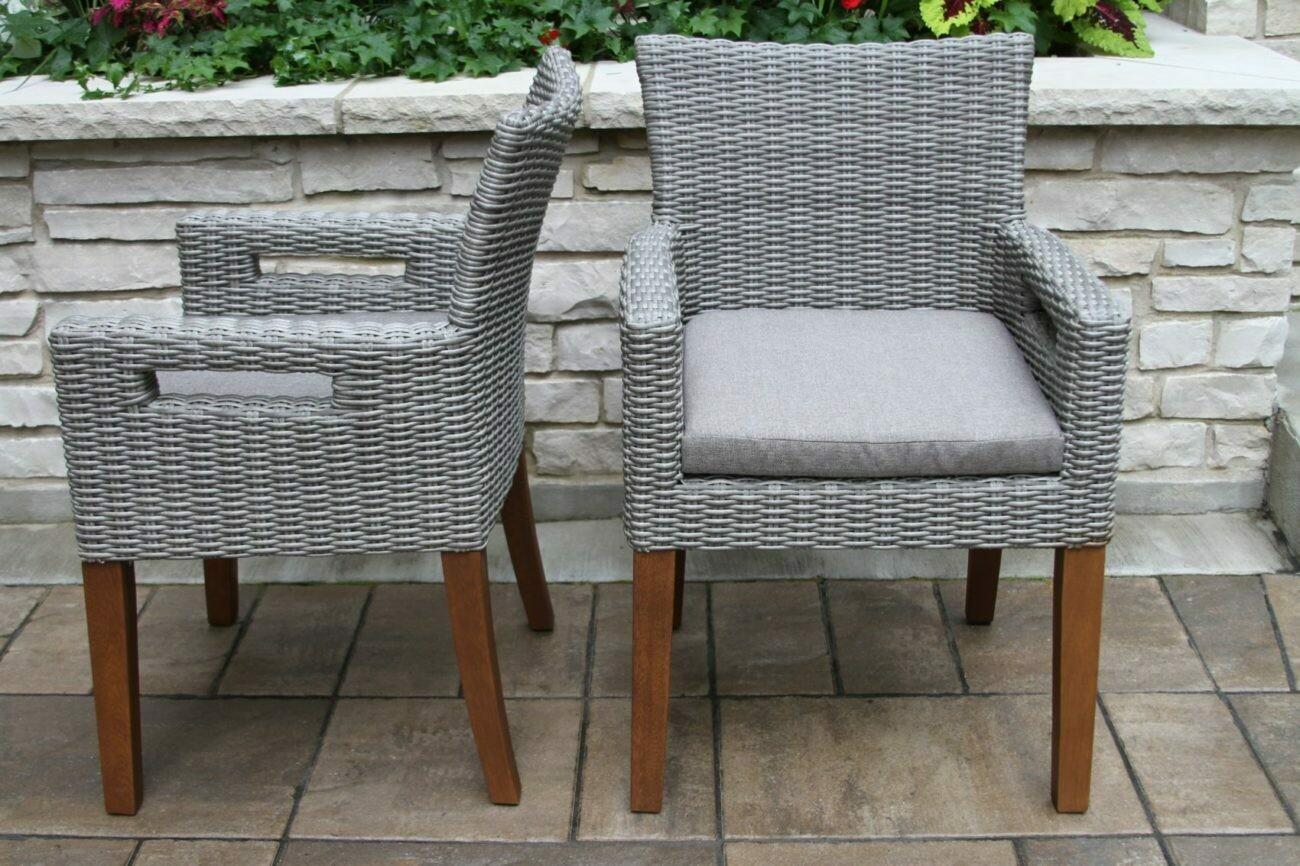 Grey Wicker/Eucalyptus Dining Arm Chair