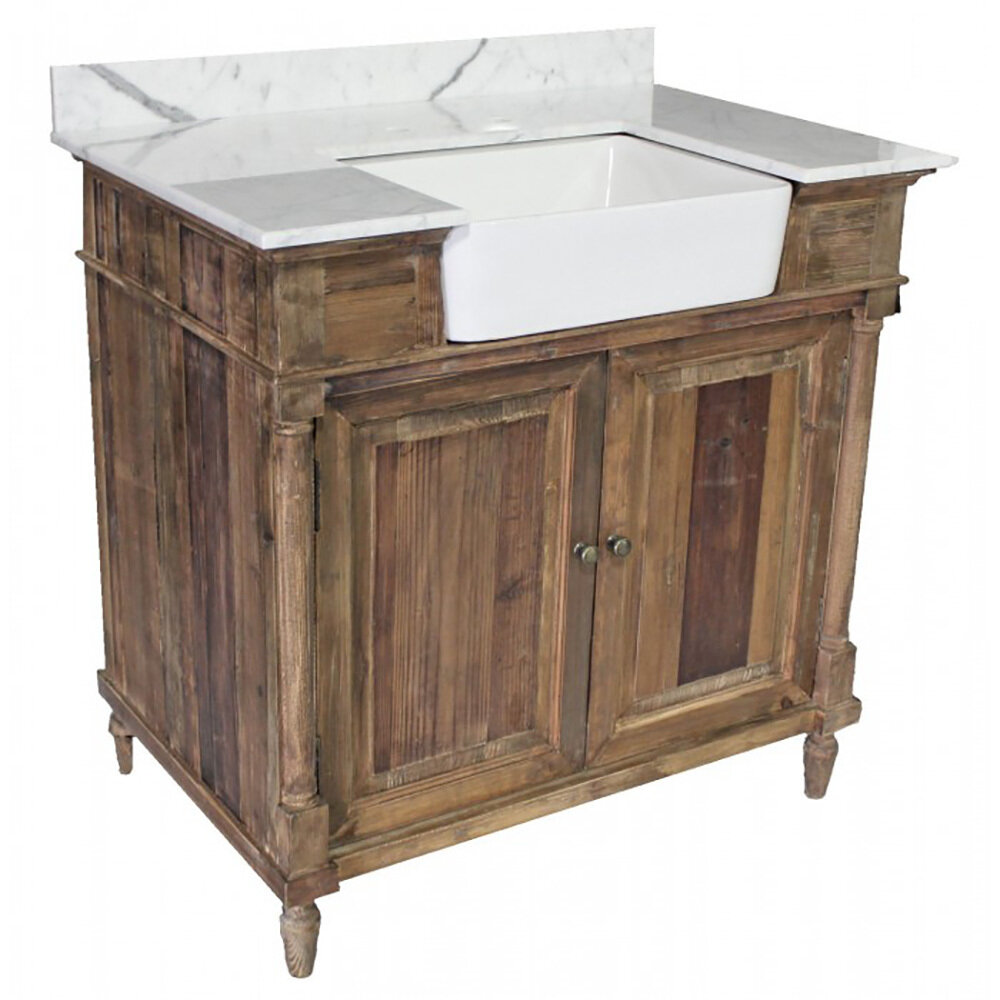 Single Reclaimed Pine Vanity W/Apron Sink