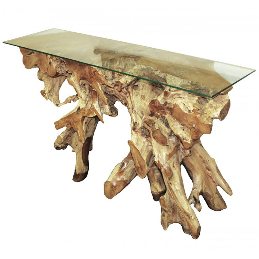 Natural Teak Glass Top Console (DISPLAY ONLY)