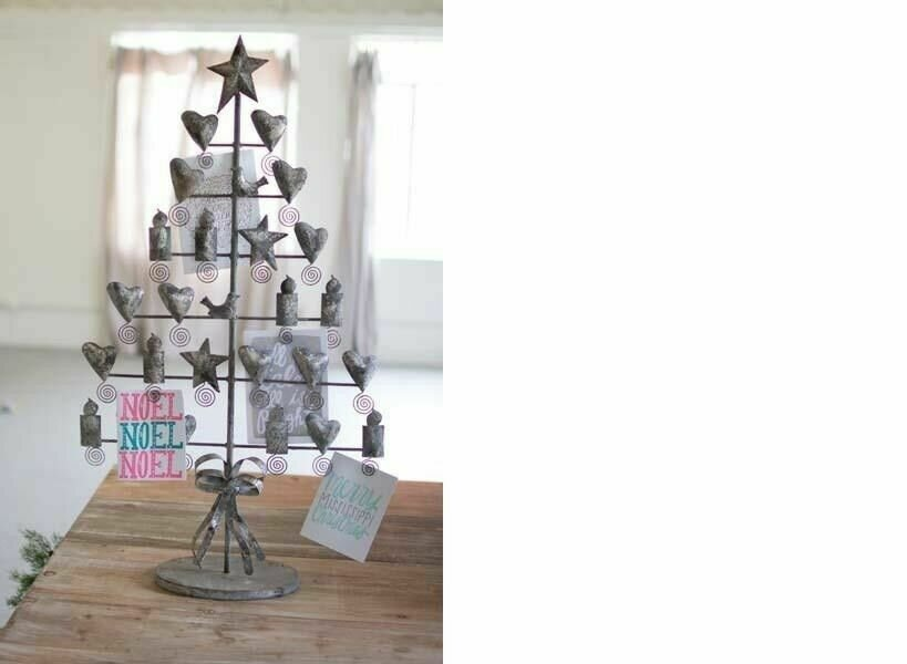 Metal Rustic Gray Christmas Card Tree