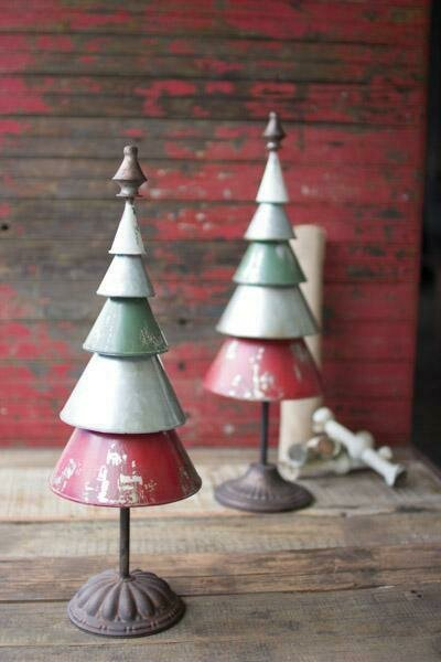 Galvinized Red/Green Set Of 2  Metal Trees