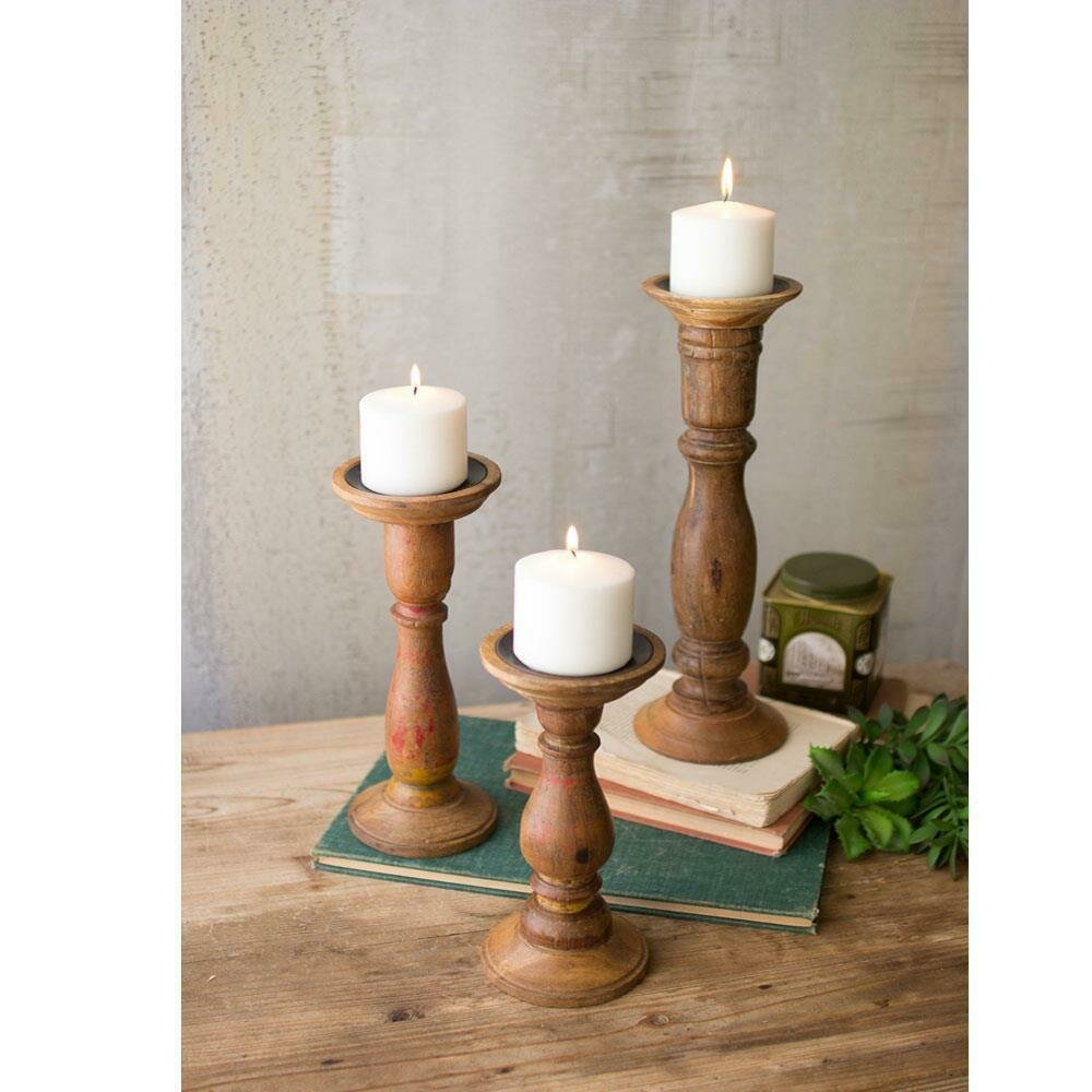 Set Of 3 Turned Wooden Candle Stands