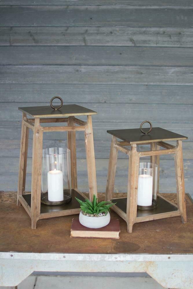 Set Of 2 Metal And Wood Set Of 2 Lanterns