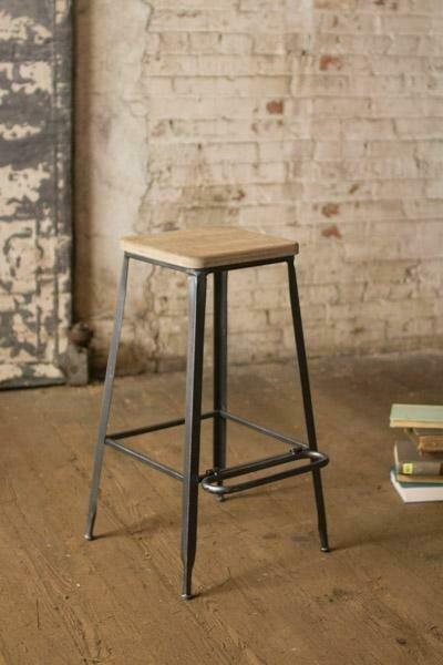 Metal Bar Stool w/Square Wood Seat