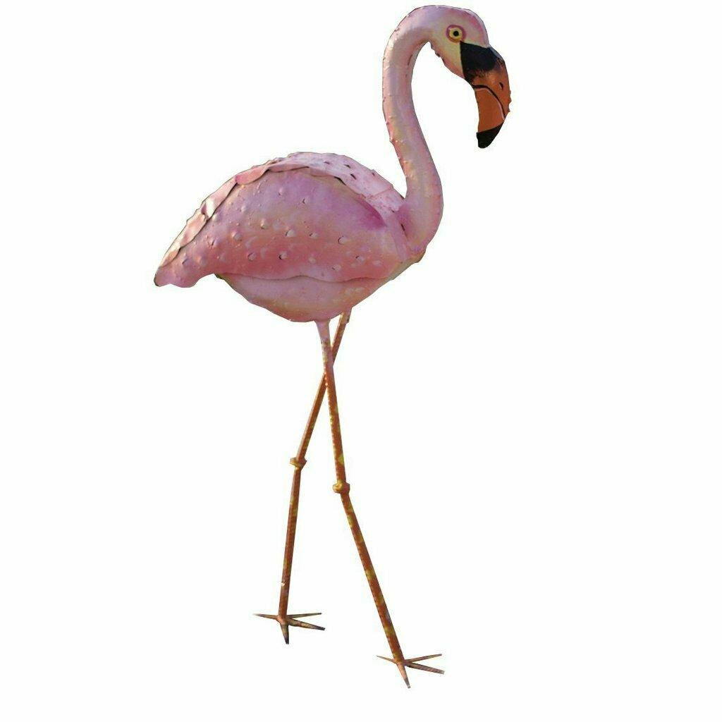 Painted Pink Metal Head Down Flamingo