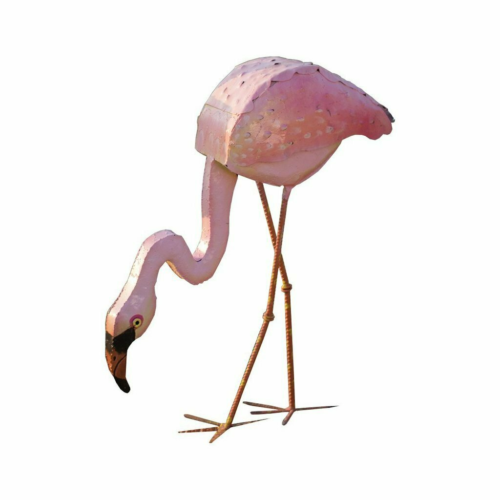 Paintd Pink Metal Head Up Flamingo